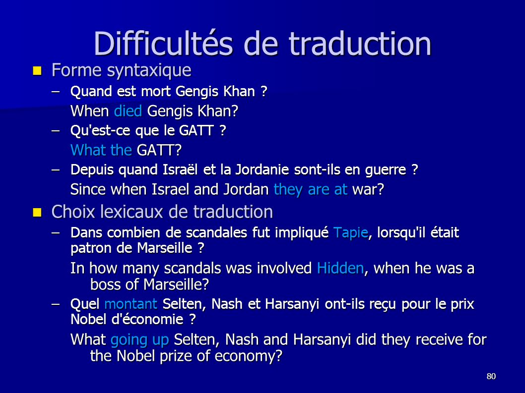 Difficultés de traduction