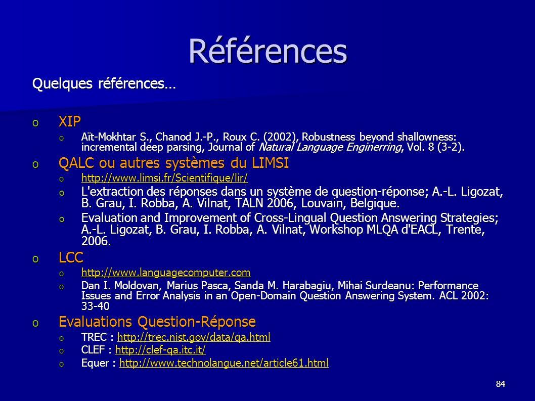 Références Quelques références… XIP QALC ou autres systèmes du LIMSI