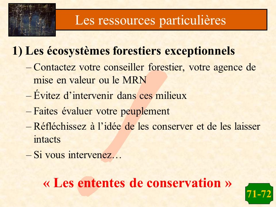 « Les ententes de conservation »
