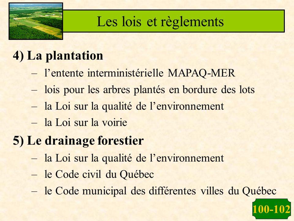 Les lois et règlements 4) La plantation 5) Le drainage forestier