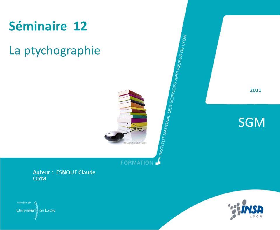 Séminaire 12 La ptychographie 2011 SGM Auteur : ESNOUF Claude CLYM