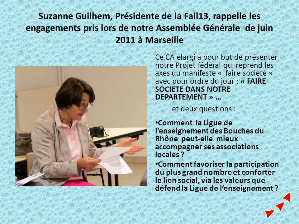 Suzanne Guilhem, Présidente de la Fail13, rappelle les engagements pris lors de notre Assemblée Générale de juin 2011 à Marseille
