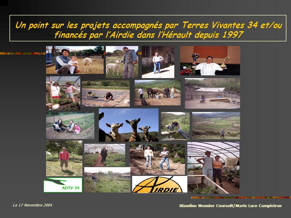 Un point sur les projets accompagnés par Terres Vivantes 34 et/ou financés par l'Airdie dans l'Hérault depuis 1997
