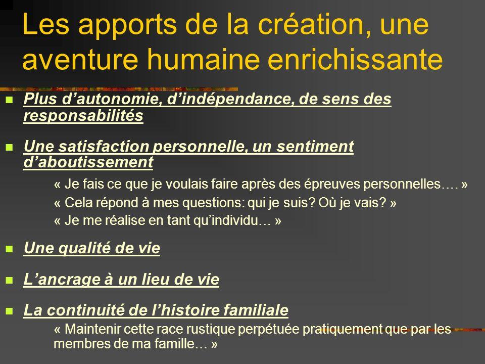 Les apports de la création, une aventure humaine enrichissante