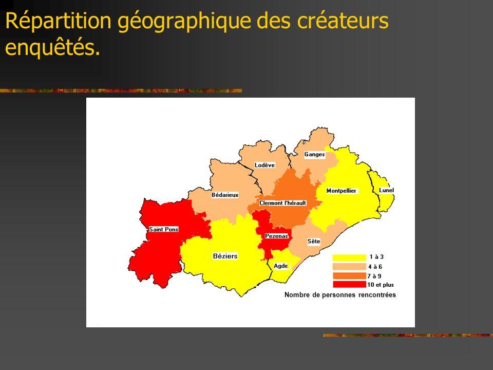 Répartition géographique des créateurs enquêtés.