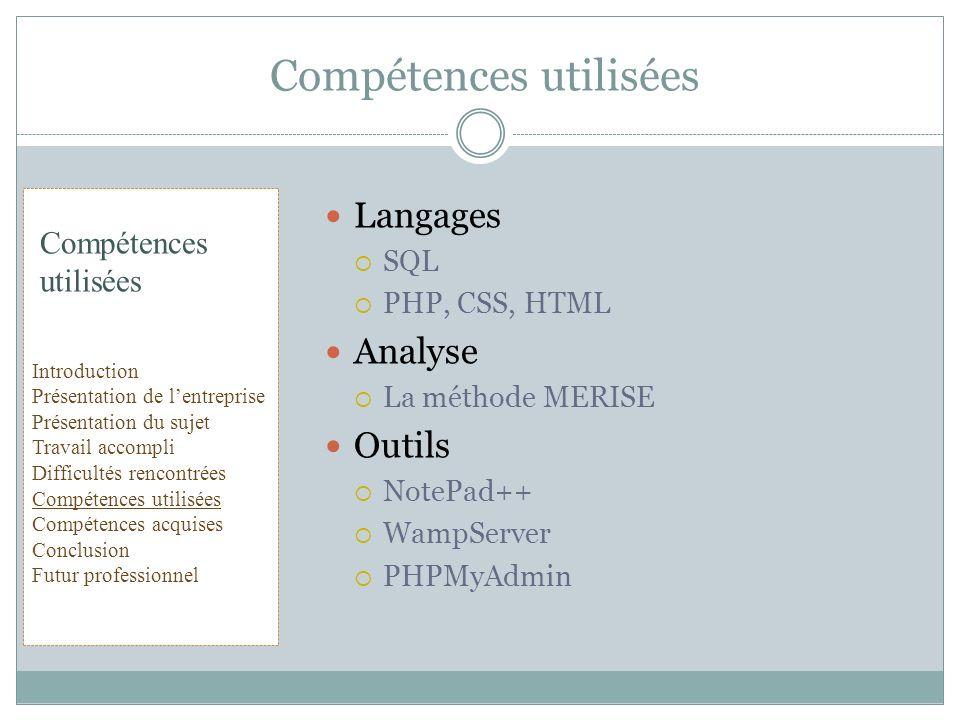 Compétences utilisées