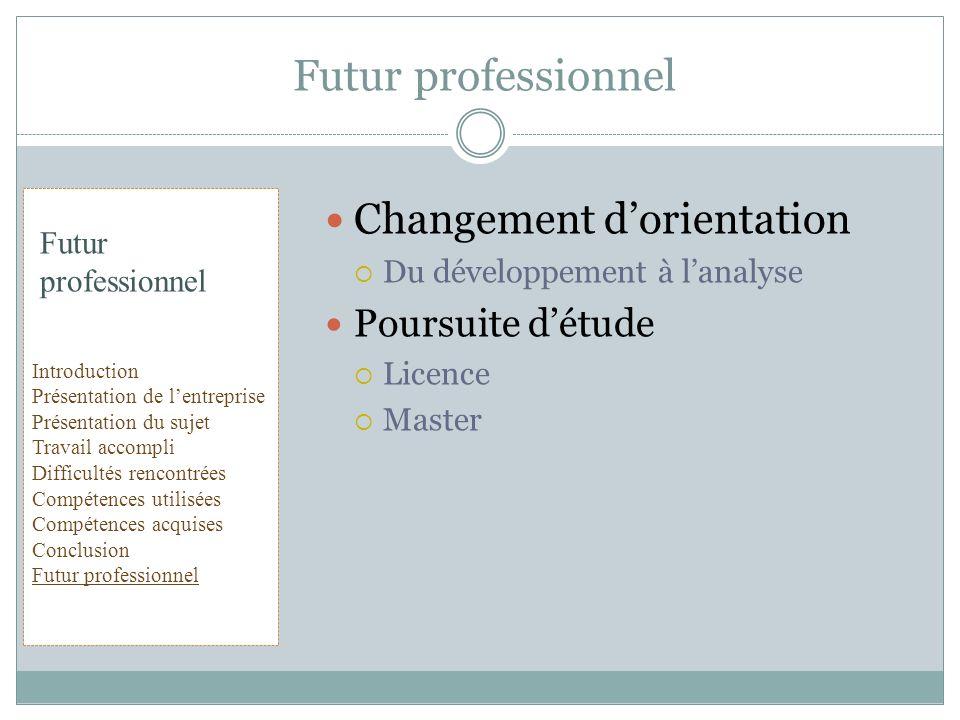Futur professionnel Changement d'orientation Poursuite d'étude