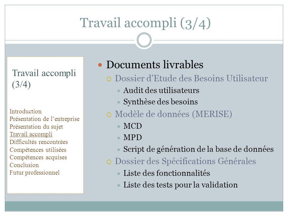 Travail accompli (3/4) Documents livrables Travail accompli (3/4)