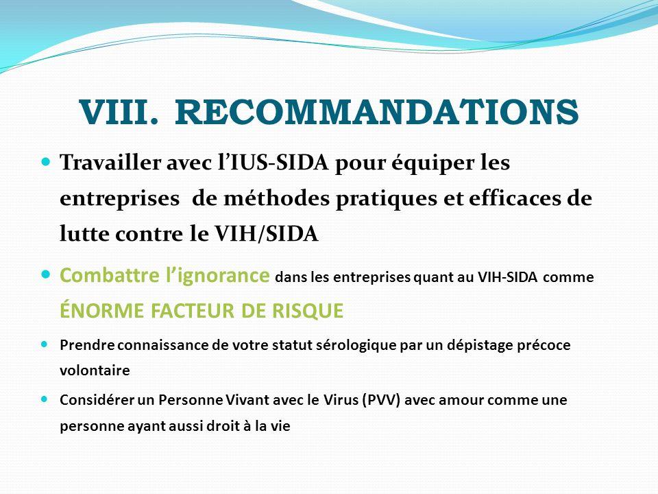 VIII. RECOMMANDATIONS Travailler avec l'IUS-SIDA pour équiper les entreprises de méthodes pratiques et efficaces de lutte contre le VIH/SIDA.
