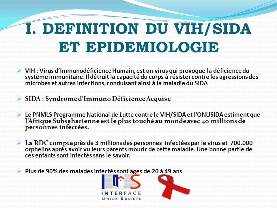 I. DEFINITION DU VIH/SIDA ET EPIDEMIOLOGIE