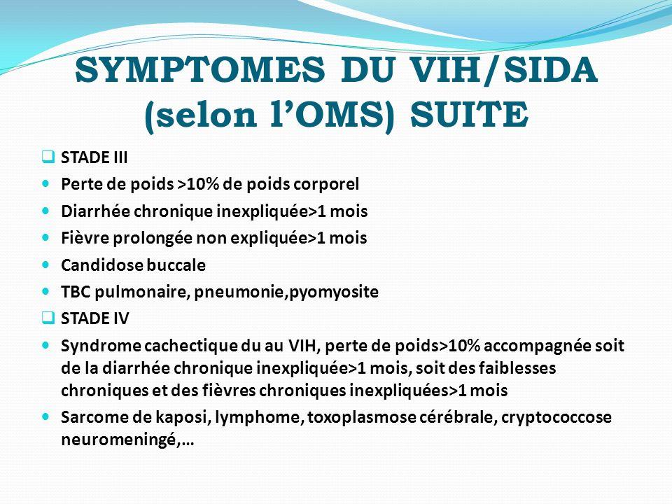 SYMPTOMES DU VIH/SIDA (selon l'OMS) SUITE