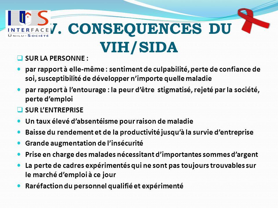 V. CONSEQUENCES DU VIH/SIDA
