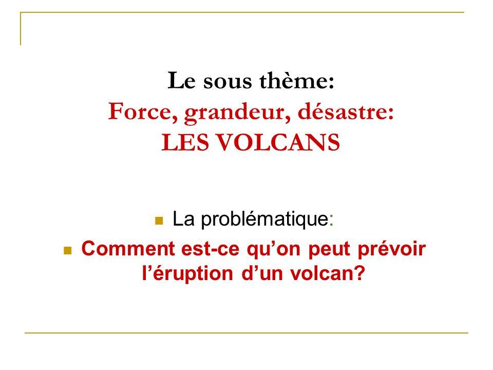 Le sous thème: Force, grandeur, désastre: LES VOLCANS