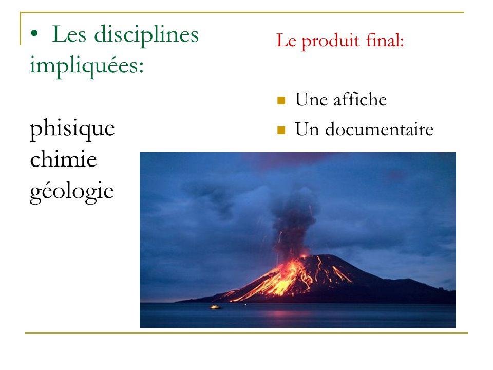 Les disciplines impliquées: phisique chimie géologie