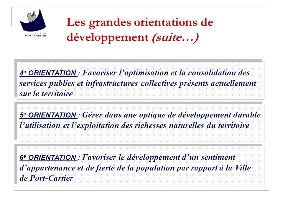 Les grandes orientations de développement (suite…)