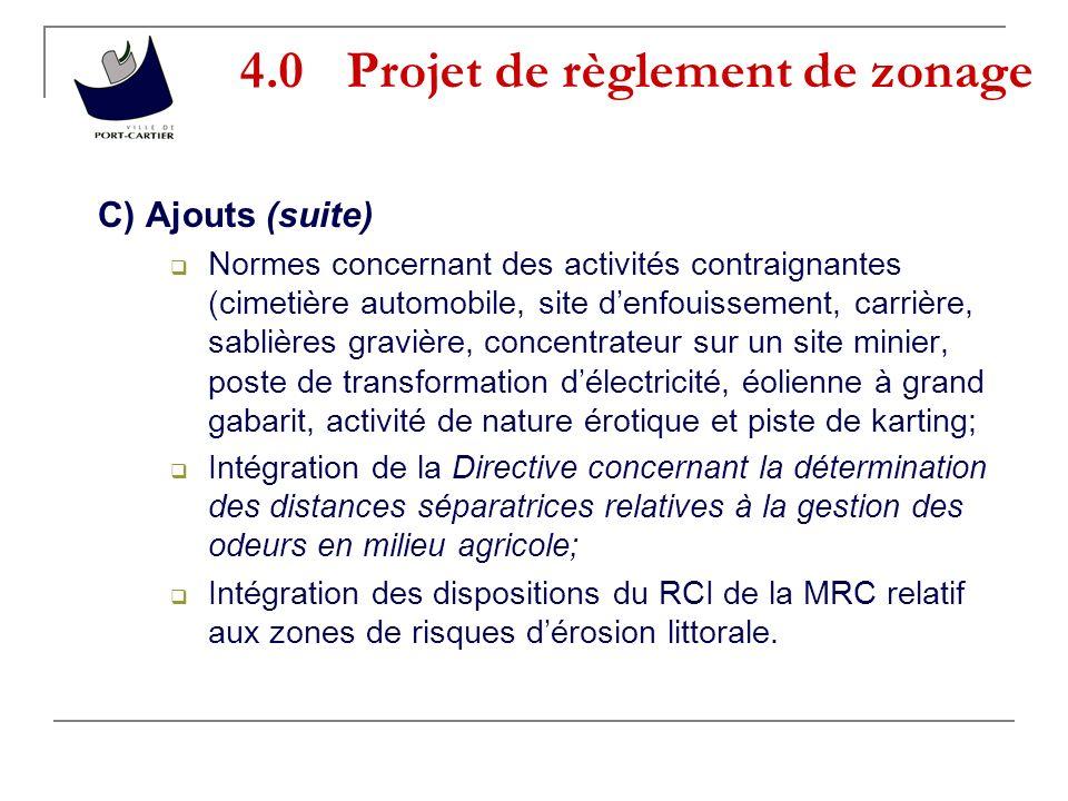 4.0 Projet de règlement de zonage