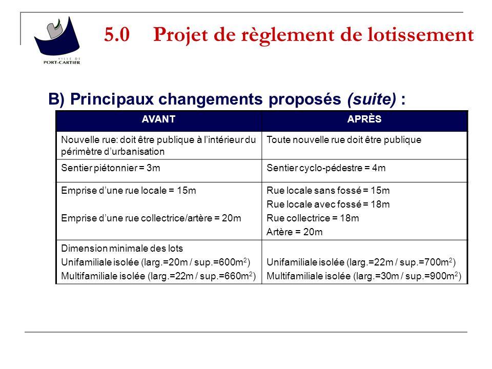 5.0 Projet de règlement de lotissement