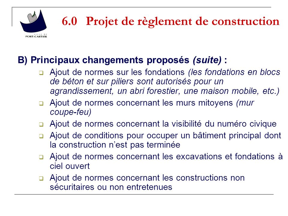 6.0 Projet de règlement de construction