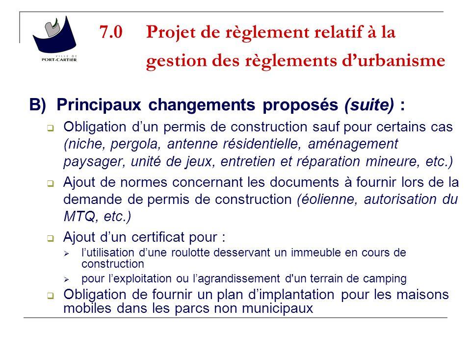7.0 Projet de règlement relatif à la gestion des règlements d'urbanisme