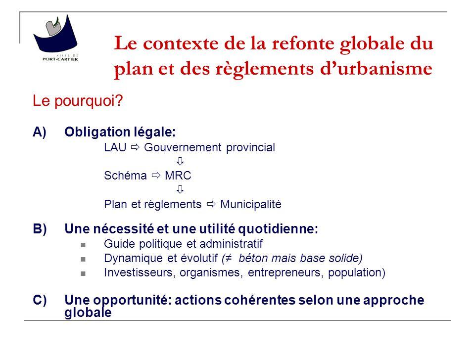 Le contexte de la refonte globale du plan et des règlements d'urbanisme