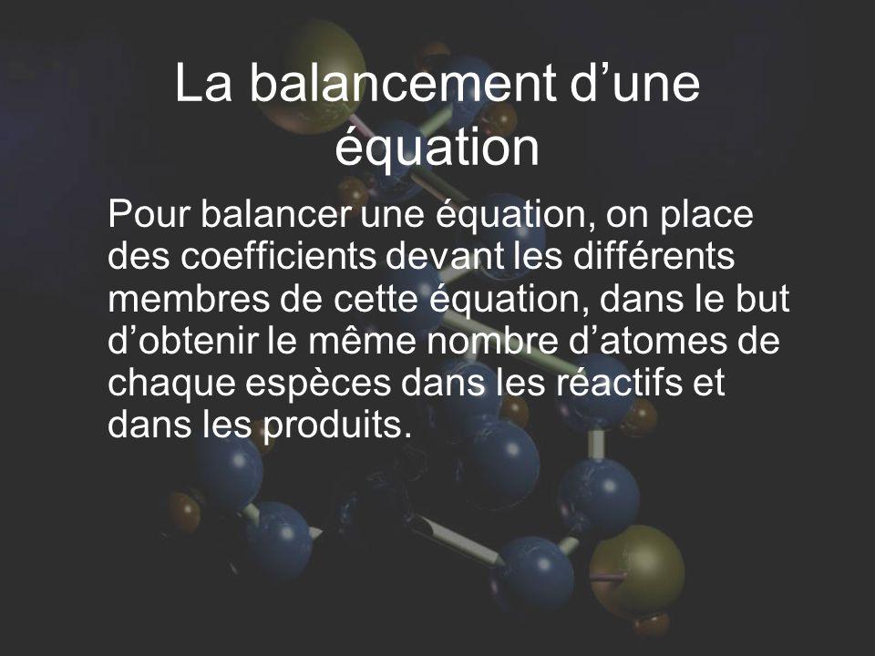 La balancement d'une équation