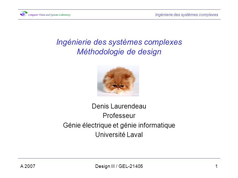 Ingénierie des systèmes complexes Méthodologie de design