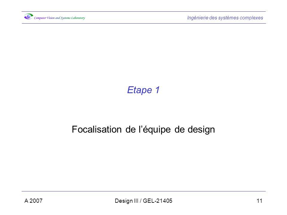 Focalisation de l'équipe de design