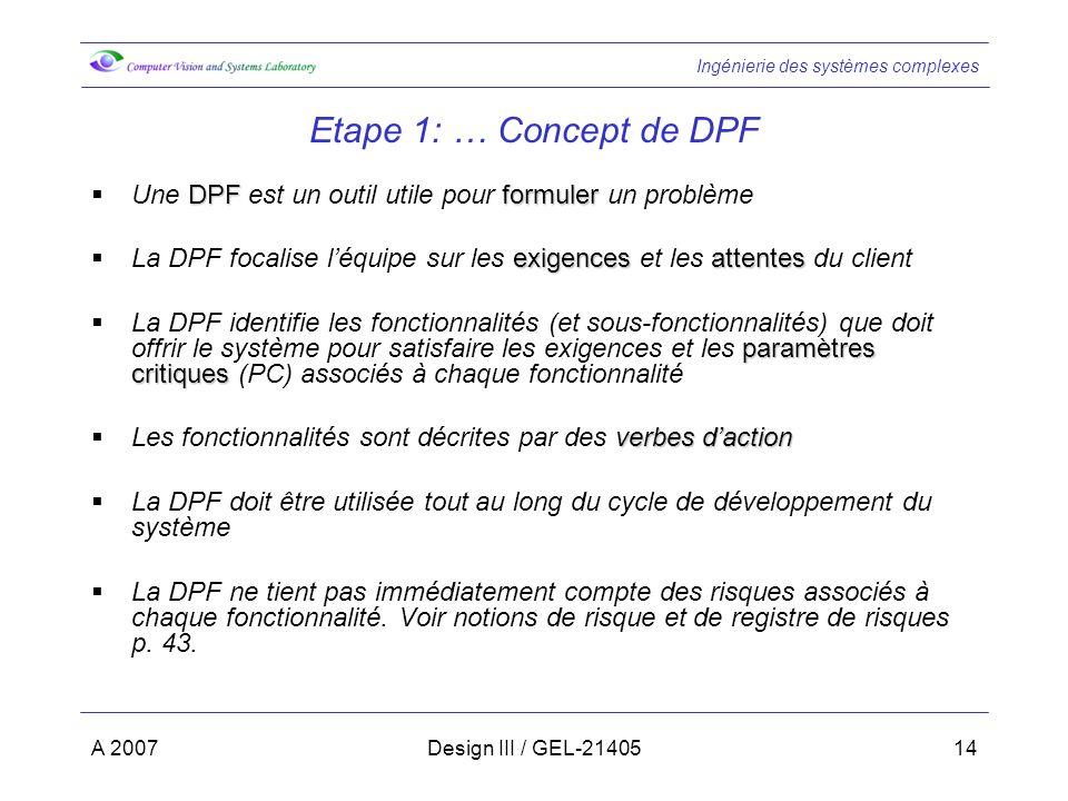 Etape 1: … Concept de DPF Une DPF est un outil utile pour formuler un problème. La DPF focalise l'équipe sur les exigences et les attentes du client.