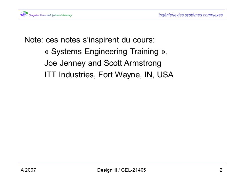 Note: ces notes s'inspirent du cours:
