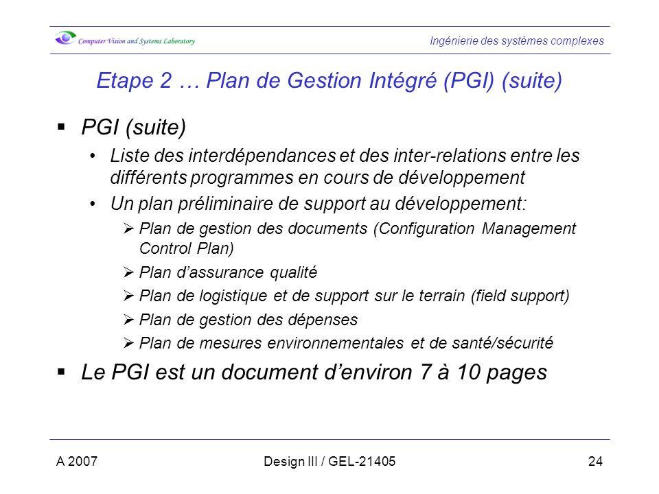 Etape 2 … Plan de Gestion Intégré (PGI) (suite)