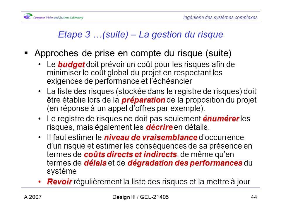 Etape 3 …(suite) – La gestion du risque