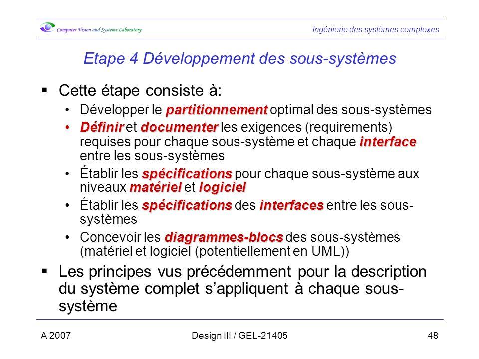 Etape 4 Développement des sous-systèmes