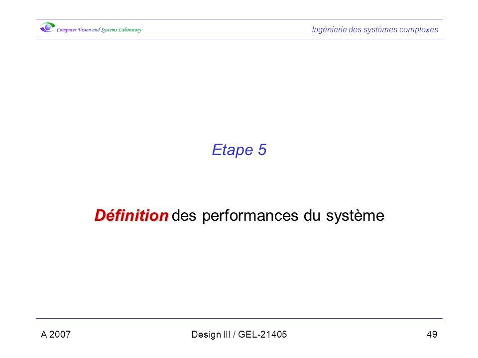 Définition des performances du système