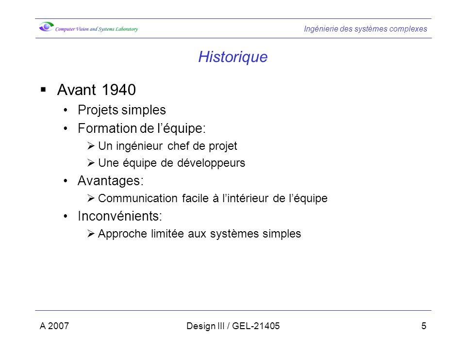 Historique Avant 1940 Projets simples Formation de l'équipe: