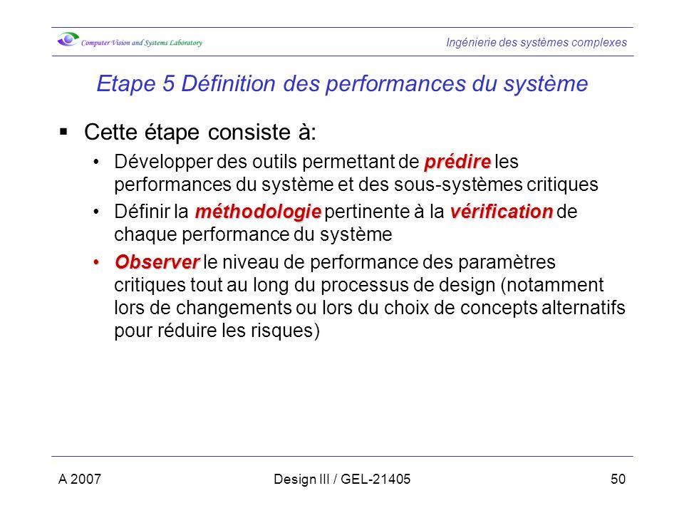 Etape 5 Définition des performances du système