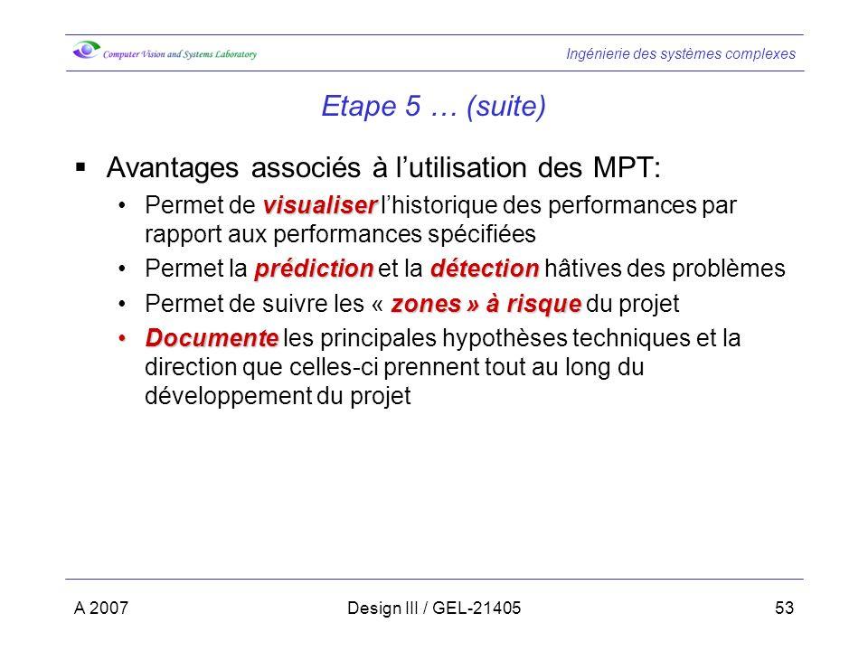 Avantages associés à l'utilisation des MPT:
