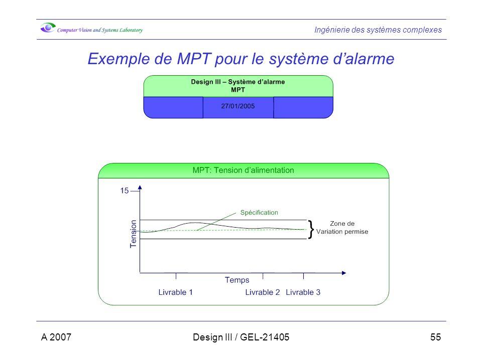 Exemple de MPT pour le système d'alarme