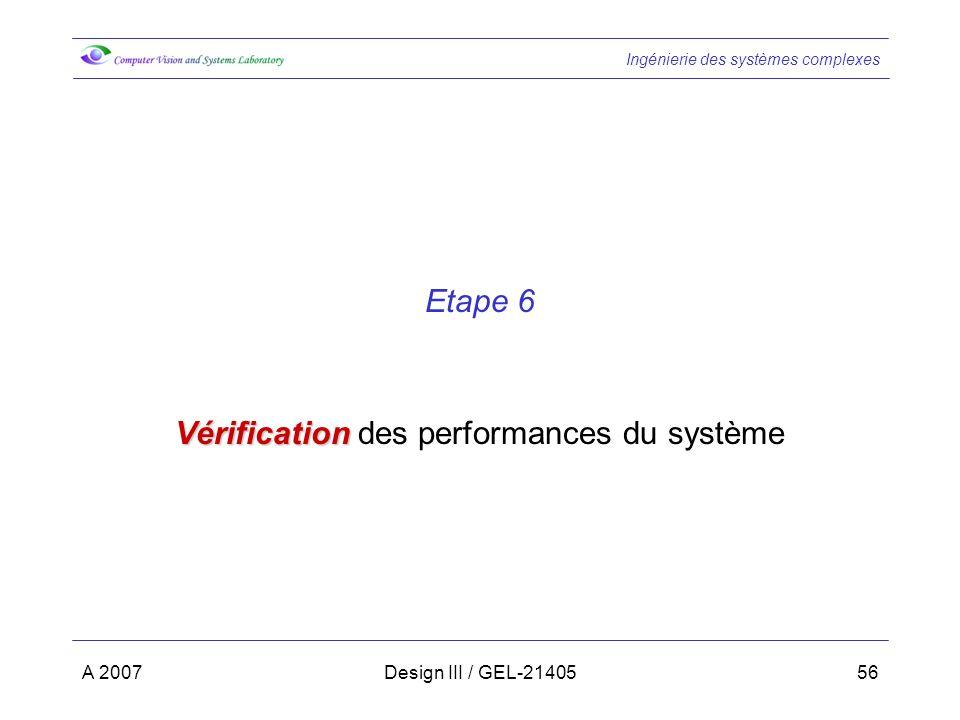 Vérification des performances du système