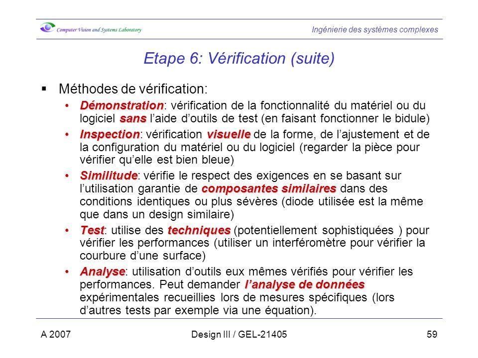 Etape 6: Vérification (suite)