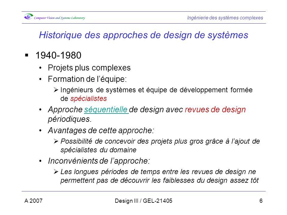 Historique des approches de design de systèmes