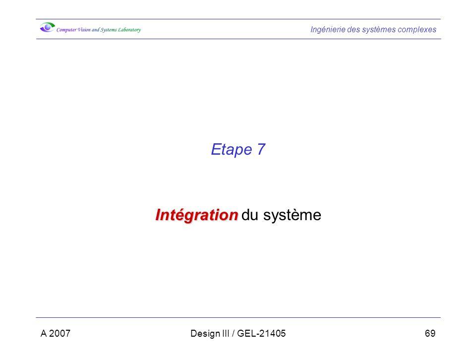 Intégration du système