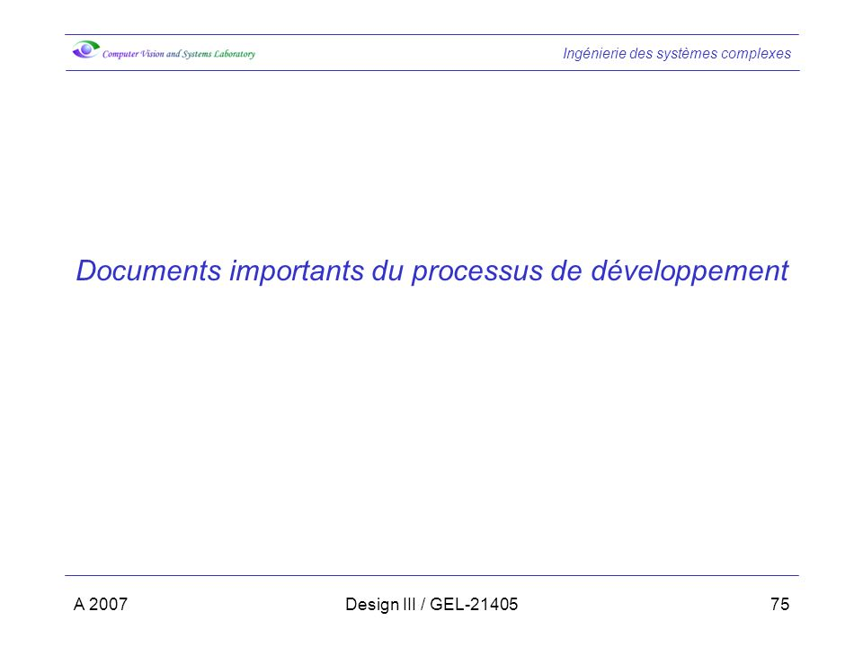 Documents importants du processus de développement