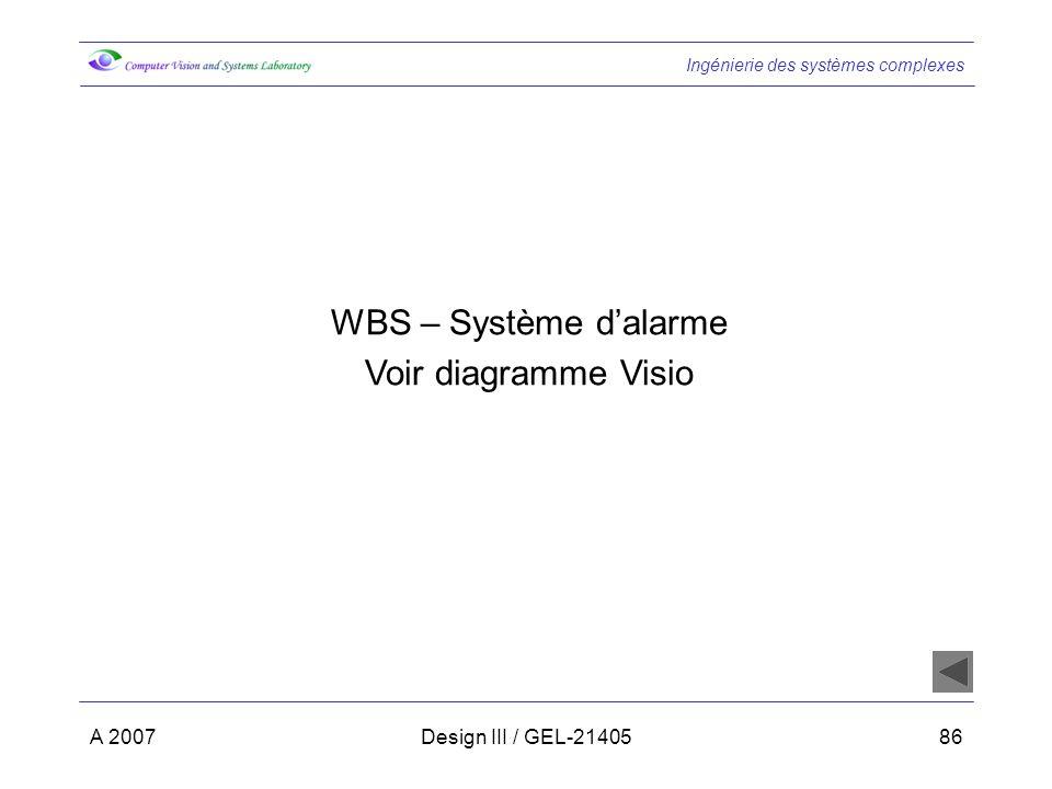 WBS – Système d'alarme Voir diagramme Visio A 2007
