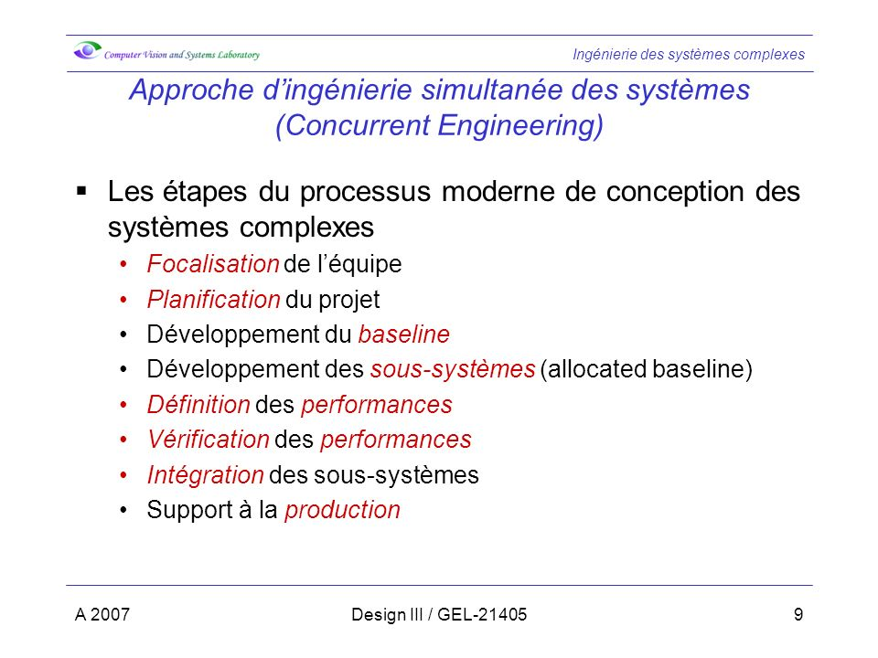 Approche d'ingénierie simultanée des systèmes (Concurrent Engineering)