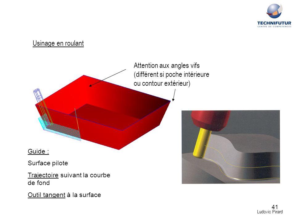 Usinage en roulant Attention aux angles vifs (différent si poche intérieure ou contour extérieur) Guide :