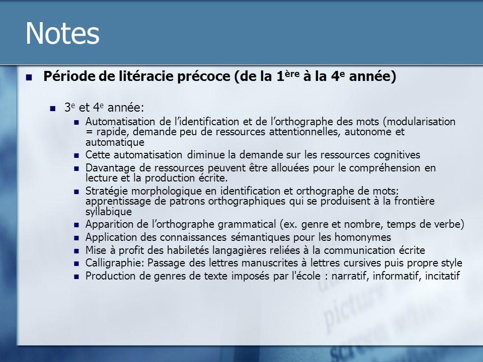 Notes Période de litéracie précoce (de la 1ère à la 4e année)