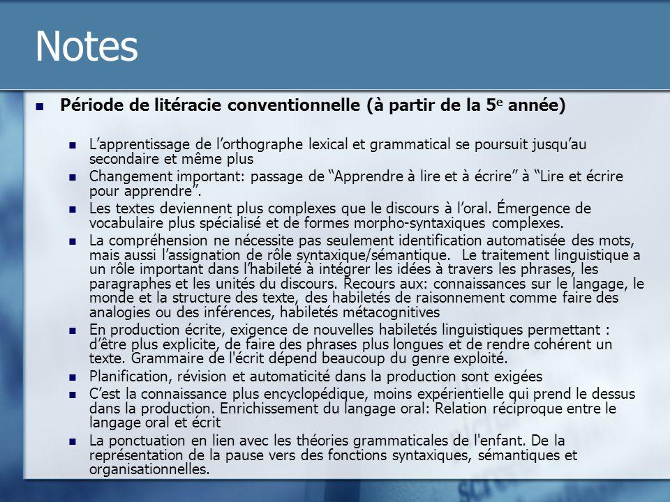 Notes Période de litéracie conventionnelle (à partir de la 5e année)