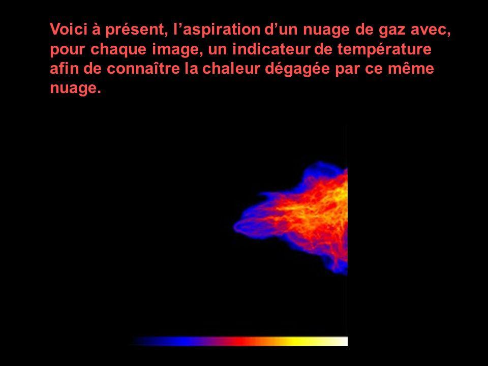 Voici à présent, l'aspiration d'un nuage de gaz avec, pour chaque image, un indicateur de température afin de connaître la chaleur dégagée par ce même nuage.