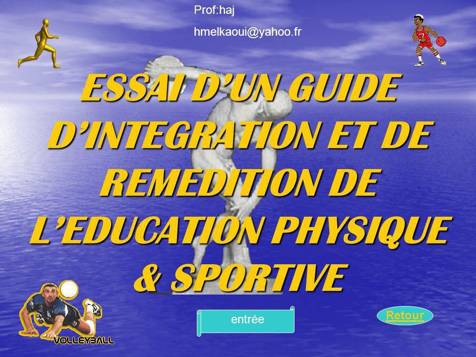 Prof:haj hmelkaoui@yahoo.fr. ESSAI D'UN GUIDE D'INTEGRATION ET DE REMEDITION DE L'EDUCATION PHYSIQUE & SPORTIVE.
