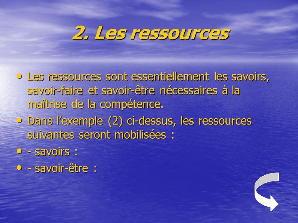 2. Les ressources Les ressources sont essentiellement les savoirs, savoir-faire et savoir-être nécessaires à la maîtrise de la compétence.